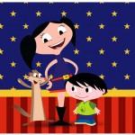 Lata de Leite Show da Luna Azul e Vermelho
