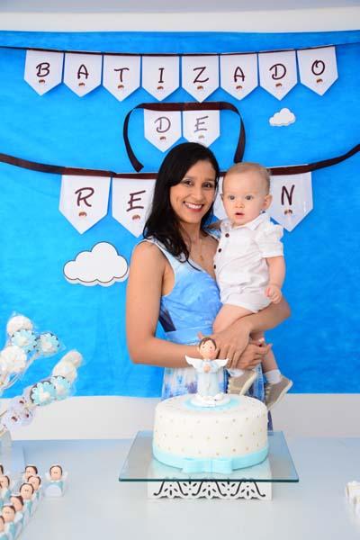 Mamãe e Renan Festa Batizado Anjinho de Renan