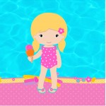 Mini Confeti Pool Party Menina Loira