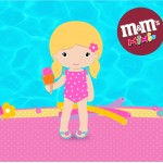 Mini M&M Pool Party Menina Loira