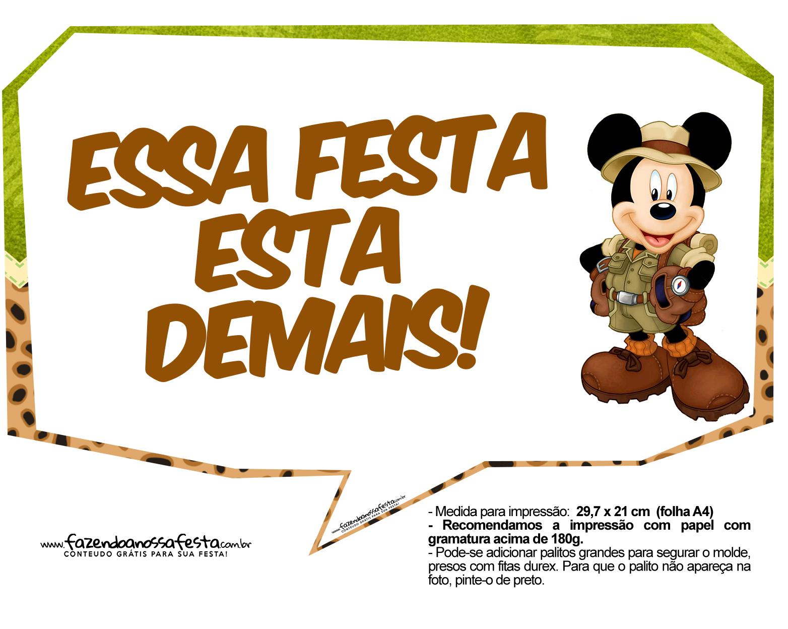 Letras Minegraft Fazendo A Nossa Festa: Plaquinha Divertidas Mickey Safari 6