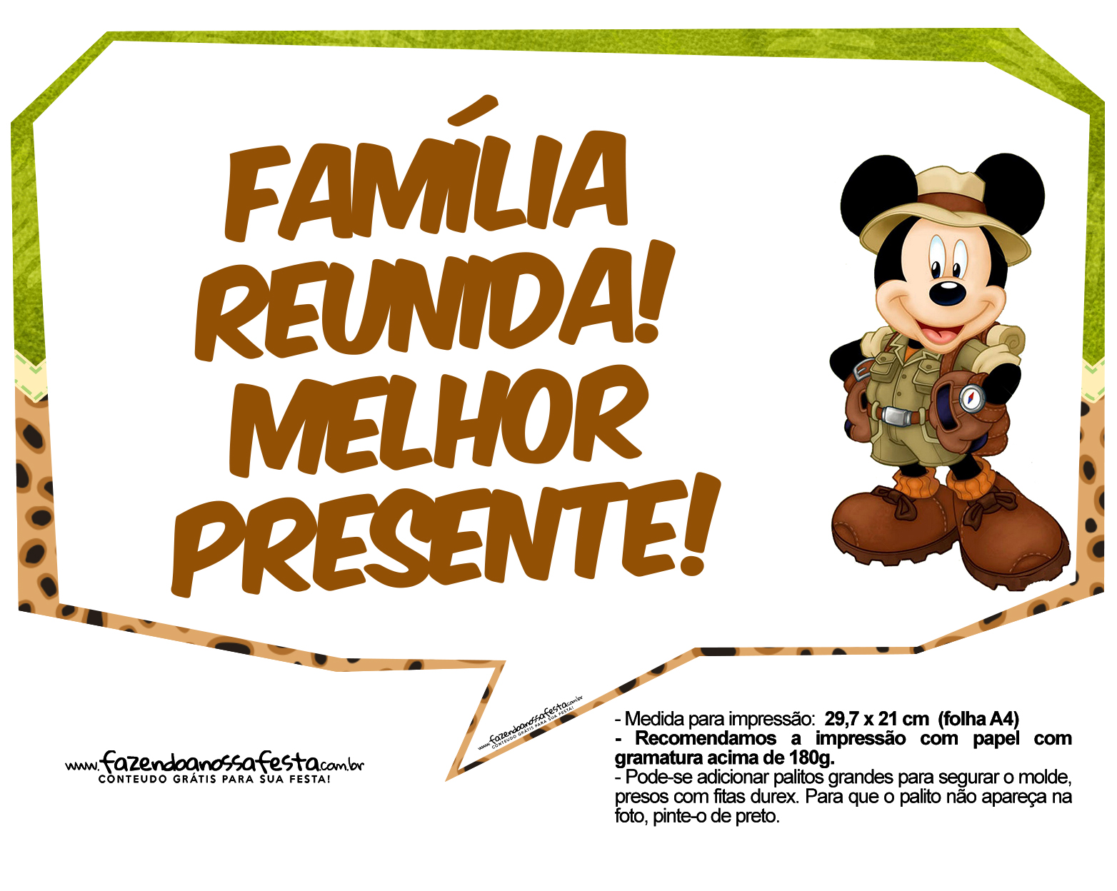 Plaquinha Divertidas Mickey Safari