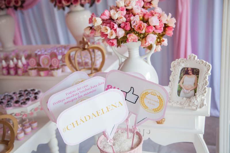 Plaquinhas divertidas Chá de Bebê Coroa de Princesa