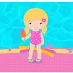 Rótulo Espumante e Vinho Pool Party Menina Loira