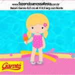 Rótulo Baton Garoto Pool Party Menina Loira