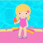Rótulo Tubetes Pool Party Menina Loira