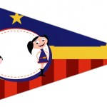 Bandeirinha Sanduiche 6 Show da Luna Azul e Vermelho