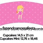 Saias Wrappers para Cupcakes Pool Party Menina Loira