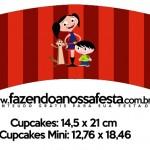 Saias Wrappers para Cupcakes Show da Luna Azul e Vermelho