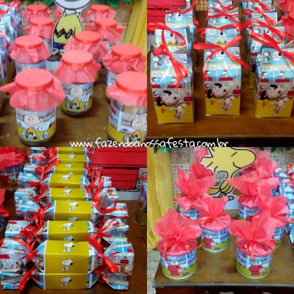 Caixa Bala, Caixa de leite e Lata de leite personalizada Festa Infantil Snoopy do Pedro