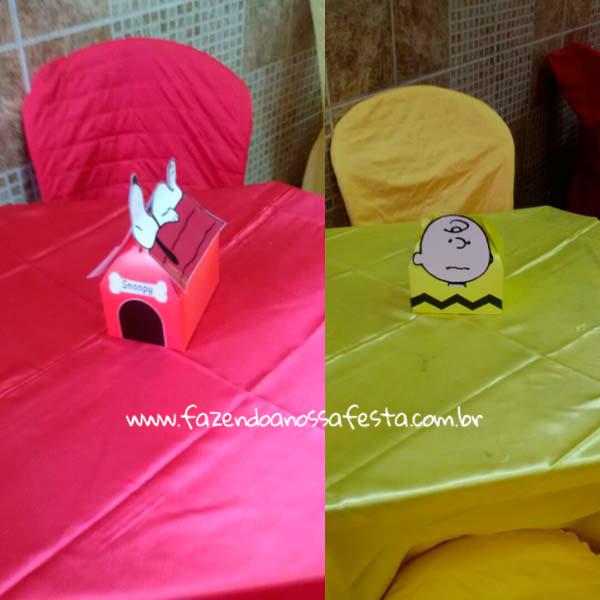 Centro de mesa Festa Infantil Snoopy do Pedro