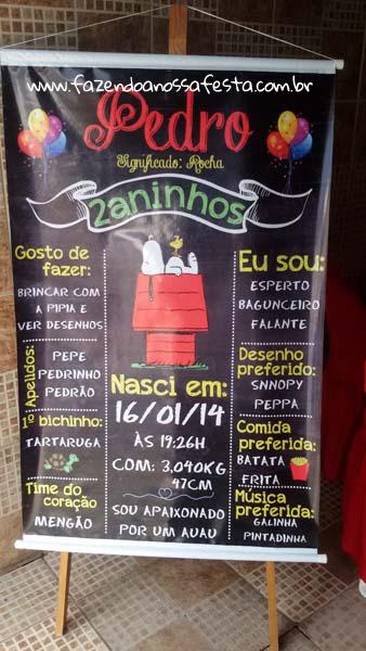 Chalkboard Festa Infantil Snoopy do Pedro
