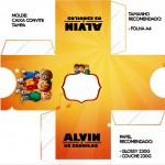 Convite Caixa Tampa Alvin e os Esquilos Desenho