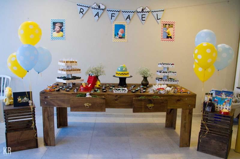 Mesa Festa Snoopy do Rafael