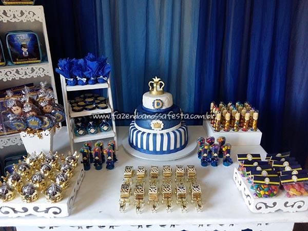 Mesa de Doces Festa Coroa de Príncipe Azul Marinho