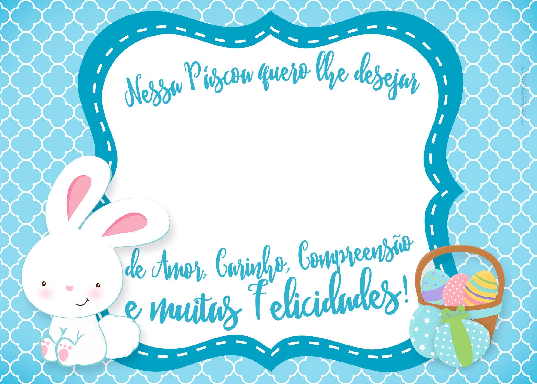 10 Cartões de Páscoa Bis - Azul Coelho