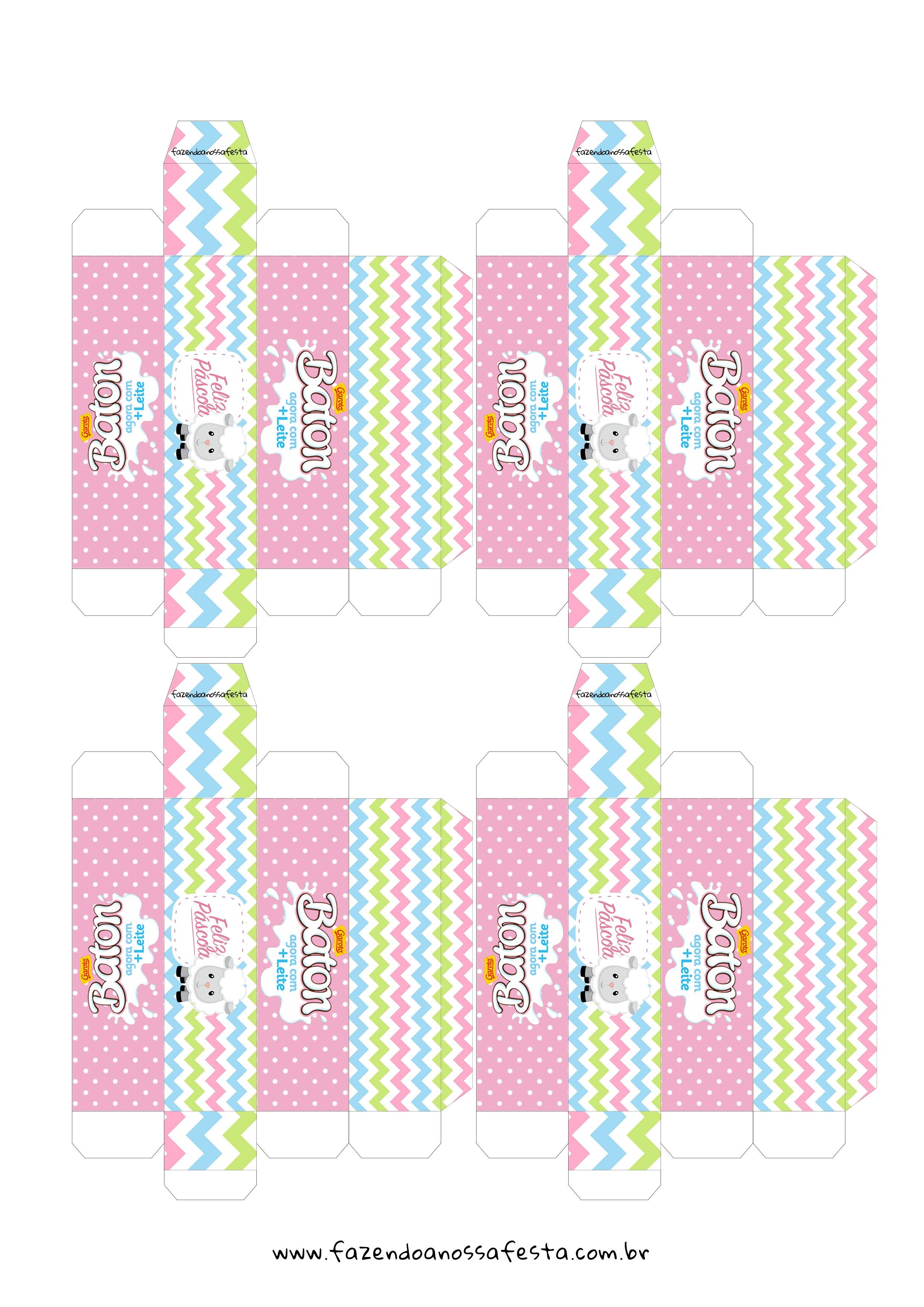 Caixa 1 Baton Presente Páscoa Cristã Ovelha em Rosa
