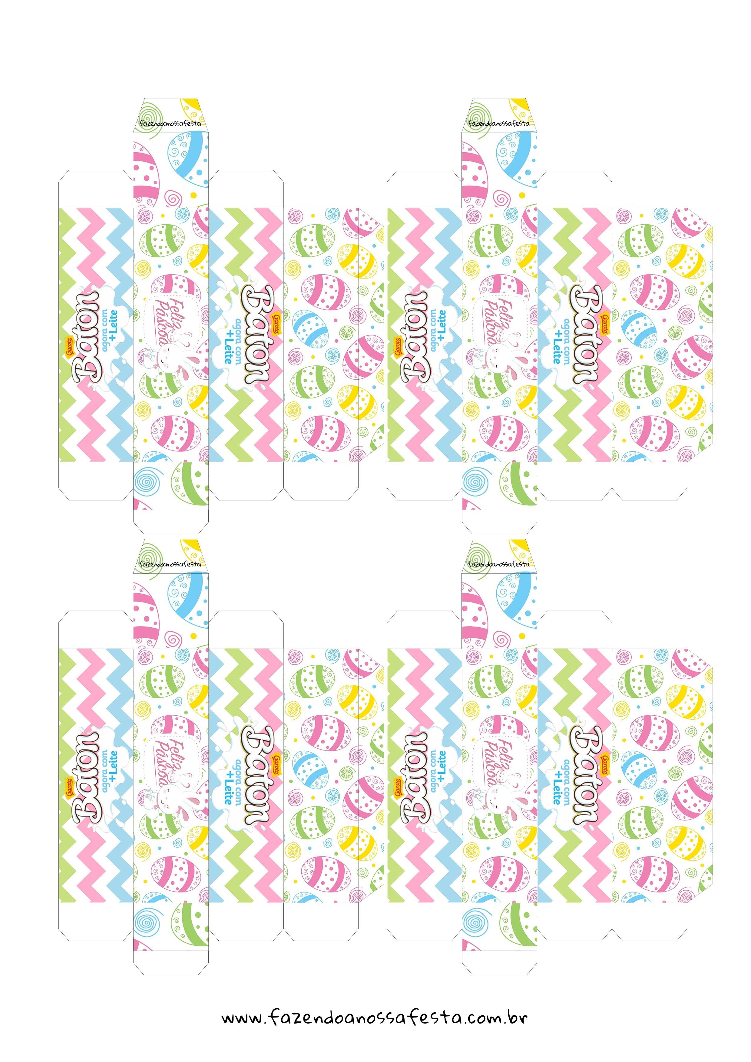 Caixa Baton para Pascoa - Gratis para Imprimir Colorida