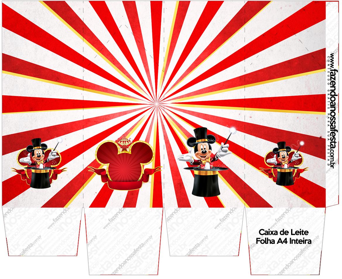 Caixa Leite Mickey Circo Fazendo A Nossa Festa