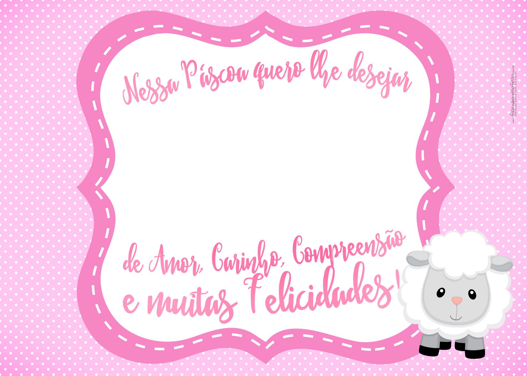 Cartão Bis Rosa Páscoa Cristã Ovelhinha