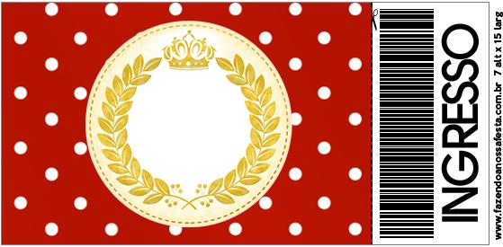 Convite Ingresso Realeza Vermelho