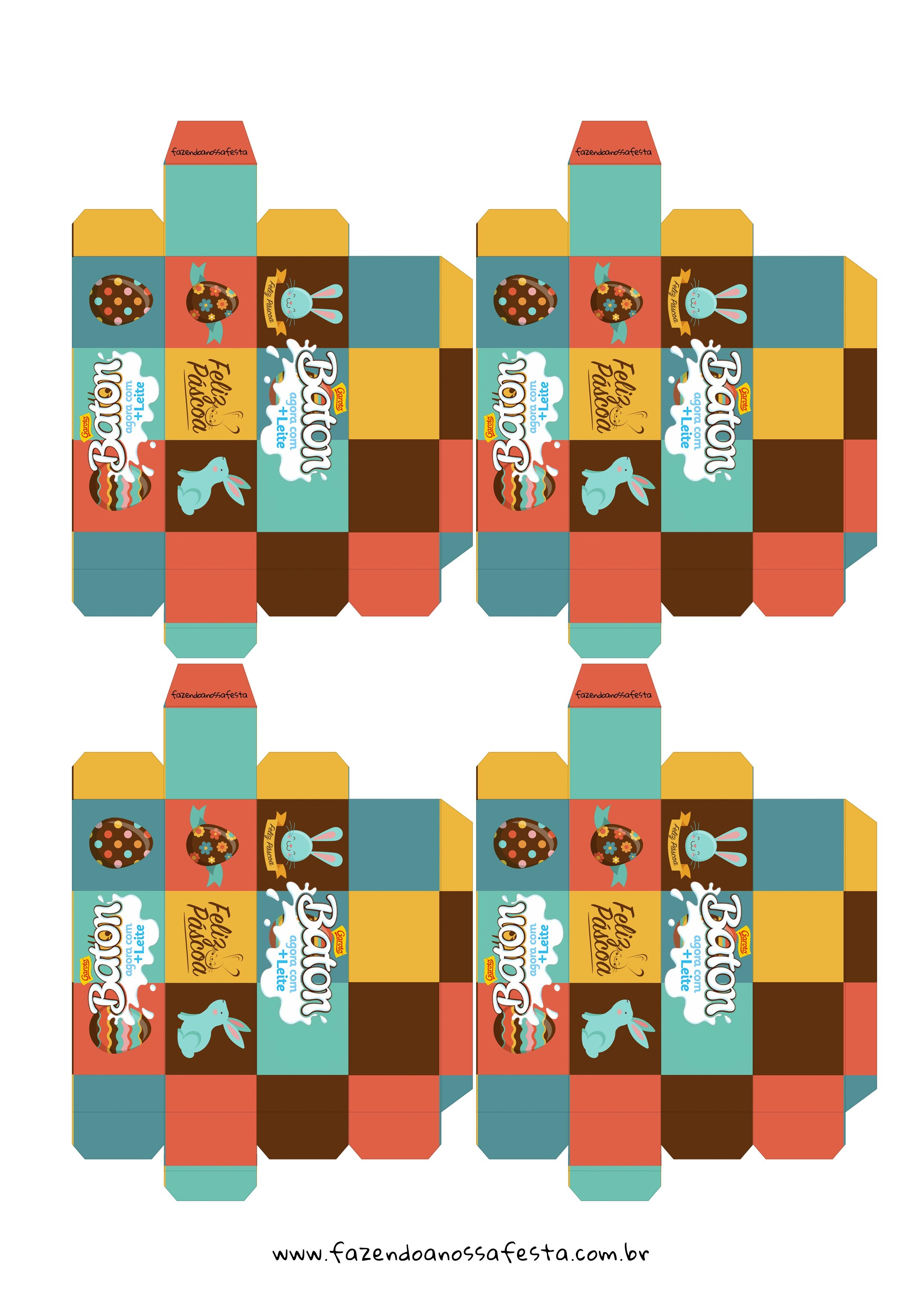 Embalagem Personalizada Baton para Pascoa - Gratis para Imprimir