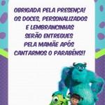 Plaquinha para Mesa de doces - Monstros SA