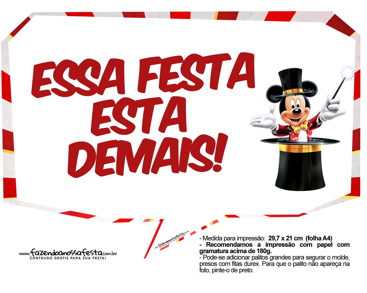 Plaquinhas divertidas Mickey Circo 22