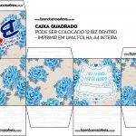 Caixa Bis Dia das Mães Floral Azul Quadrada