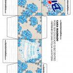 Caixa Cubo Dia das Mães Floral Azul