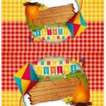 Cartao Agradecimento de mesa Kit Festa Junina Vermelho e Amarelo