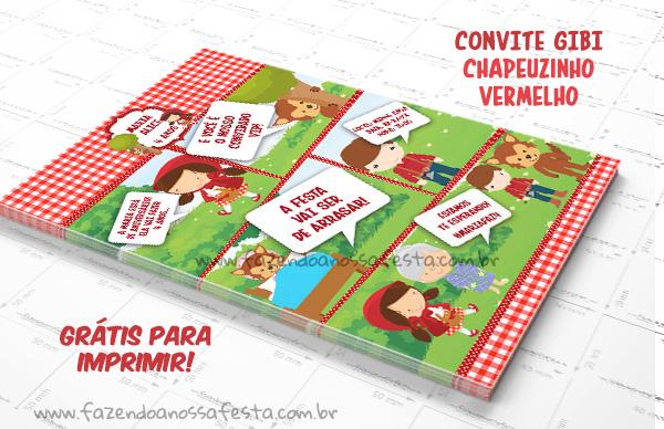 Convite Gibi Chapeuzinho Vermelho - Grátis