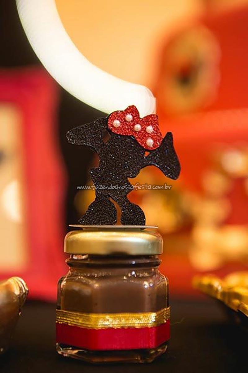 Pote Papinha personalizado Festa Minnie Vermelha da Maria Clara