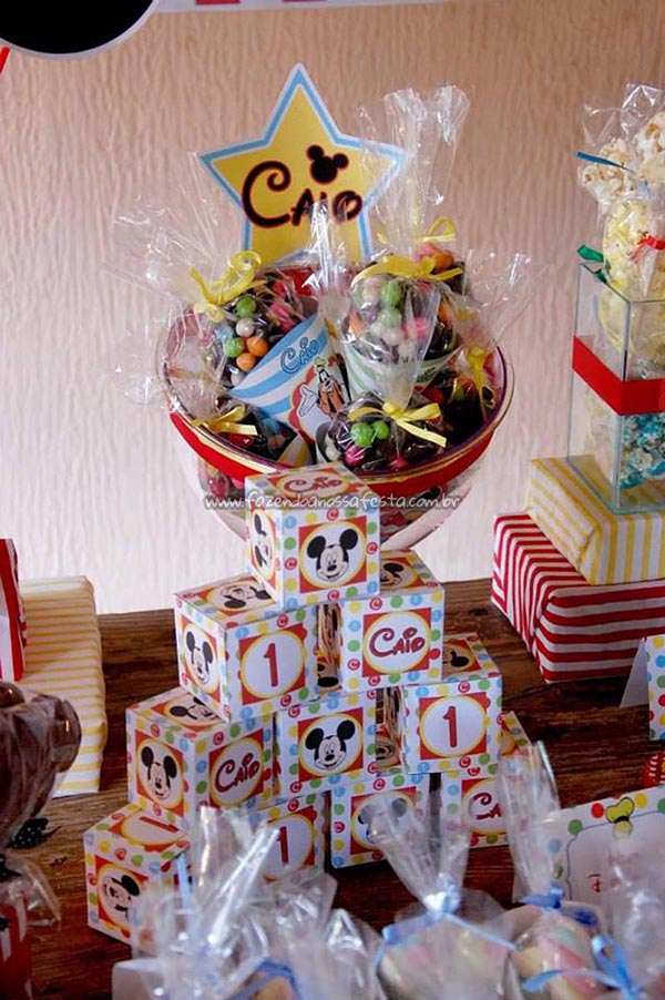 Caixa Cubo Festa Mickey e sua Turma