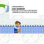 Caixa Cubo ou Bis Kit Festa Junina Azul