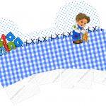 Caixa Cupcake Festa Junina Azul