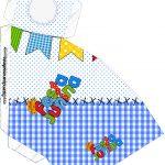 Caixa Fatia Festa Junina Azul