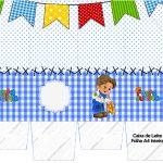 Caixa de leite Festa Junina Azul