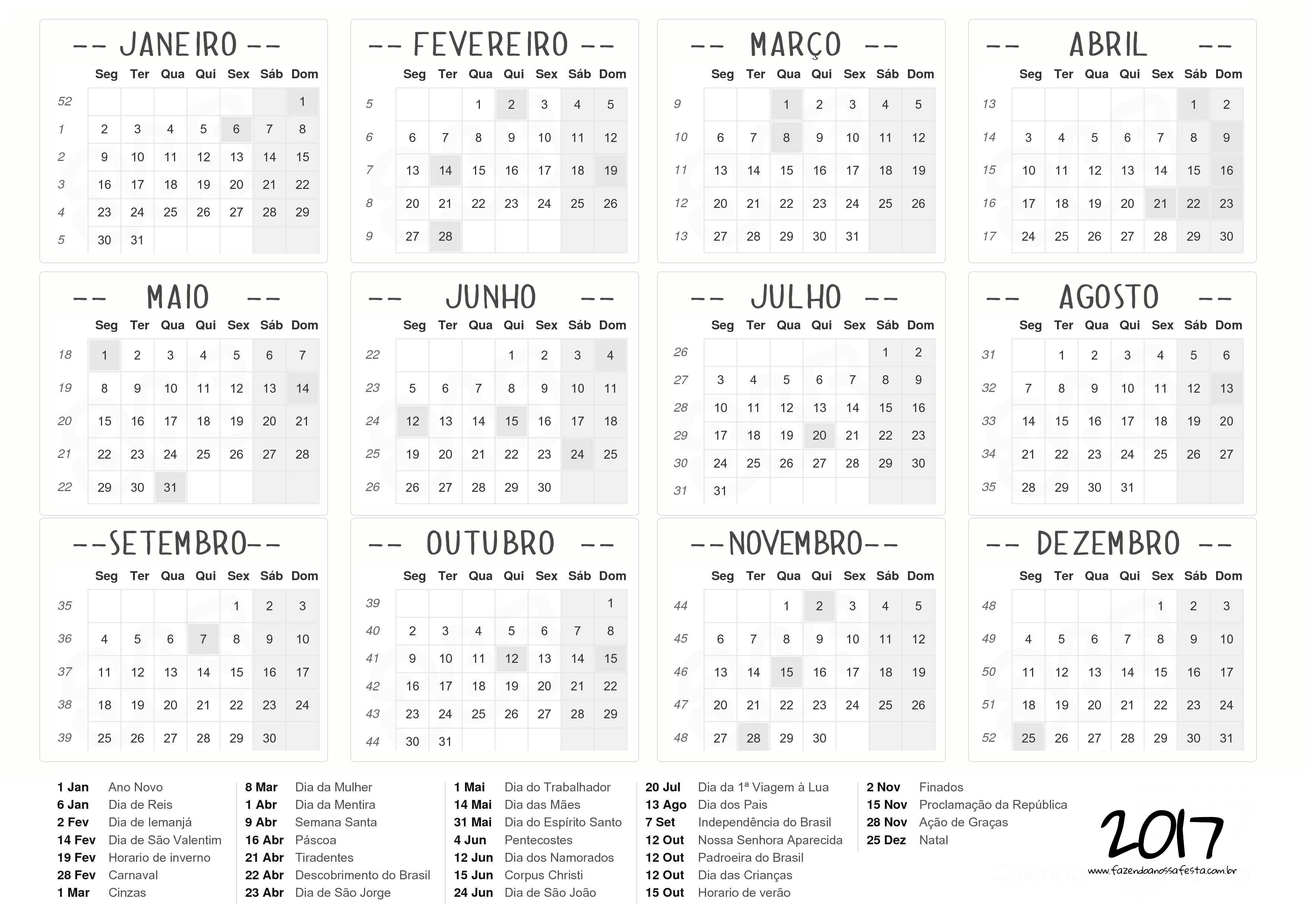 Calendario 2017 para personalizar - Fazendo a Nossa Festa