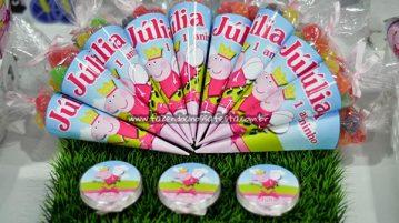 Cone Guloseimas Festa Peppa Pig da Julia