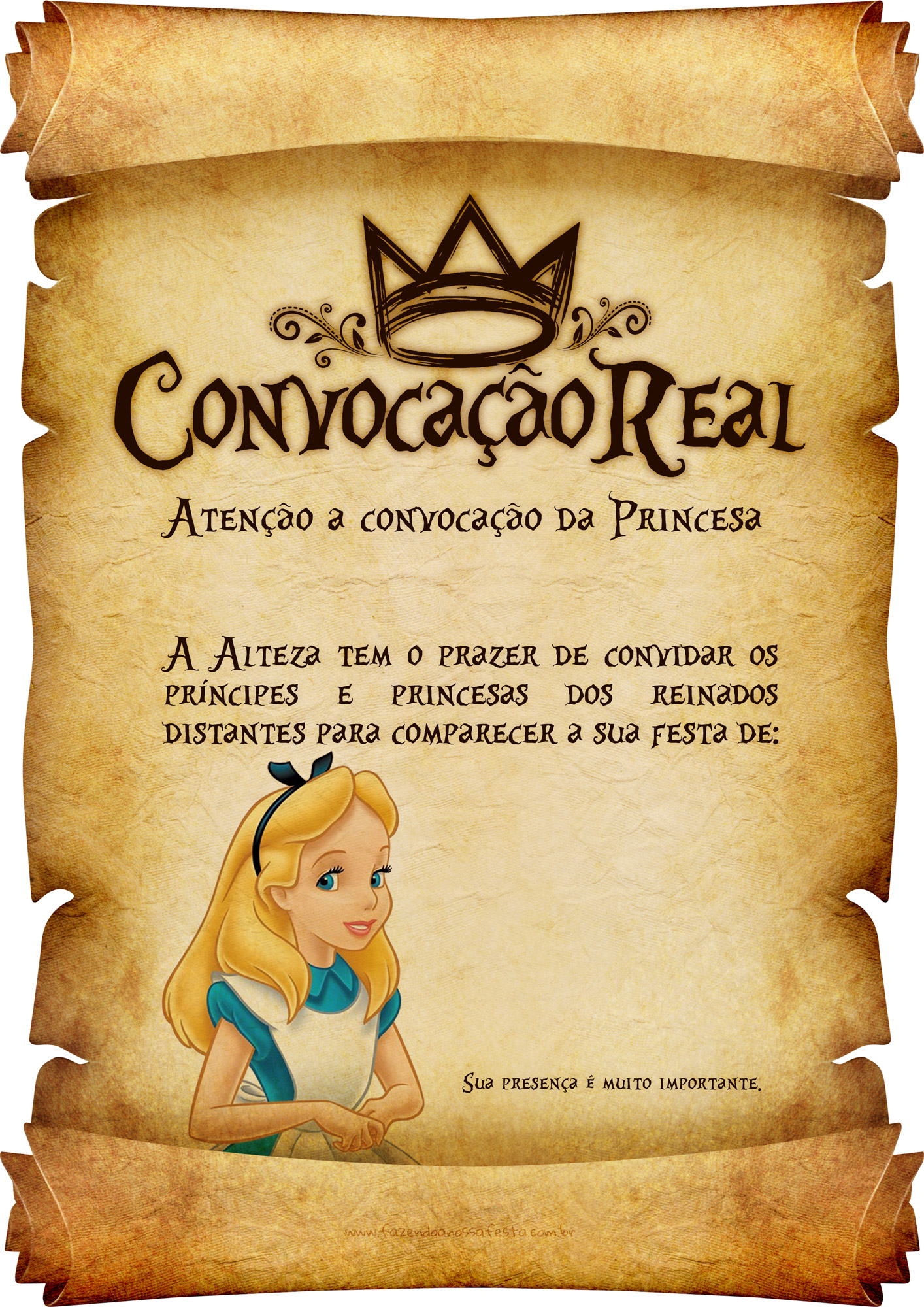 Convite Pergaminho Alice no País das Maravilha 2