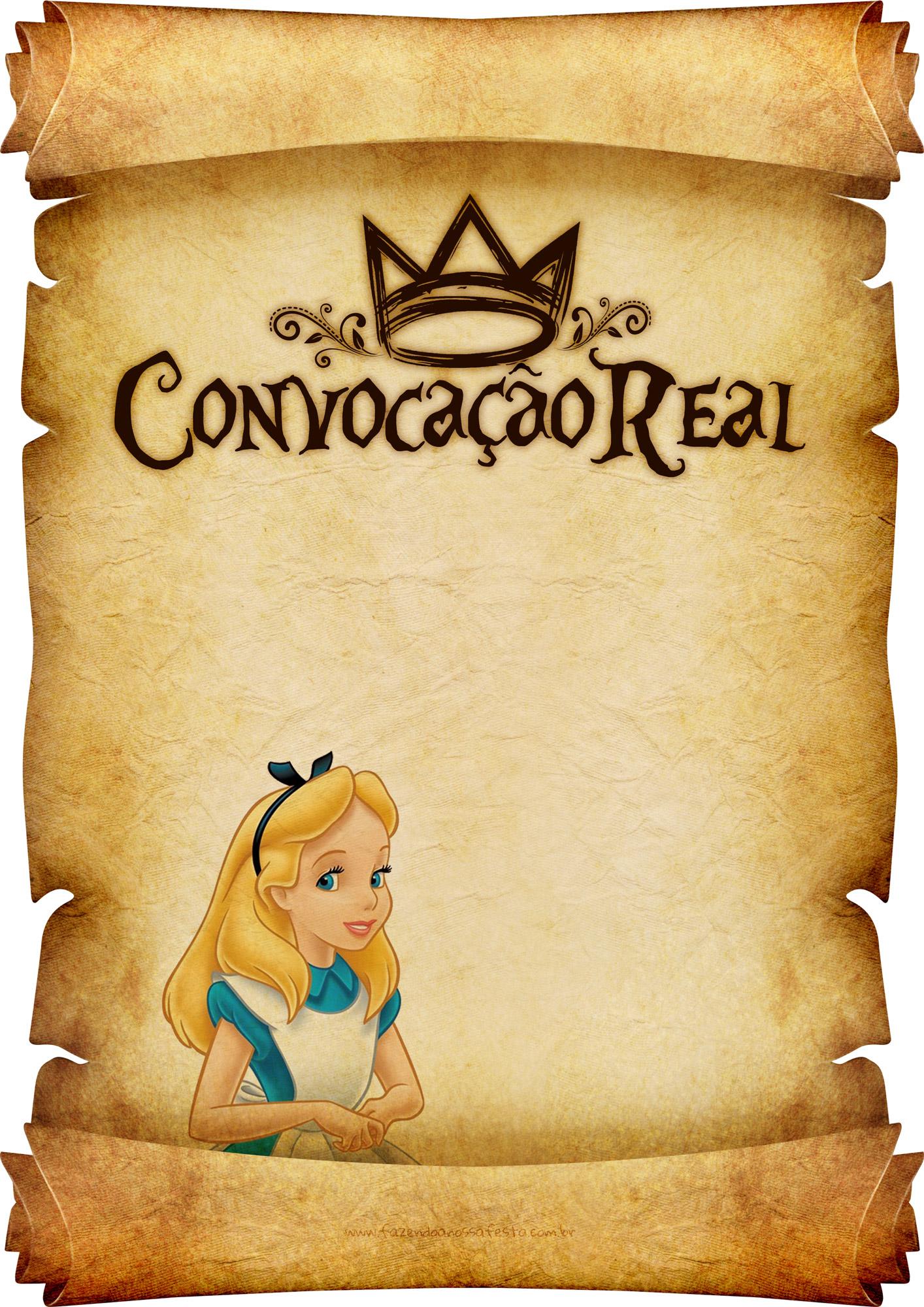Convite Pergaminho Alice no País das Maravilha 4