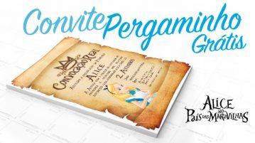 Convite Pergaminho Alice no País das Maravilha - Modelo