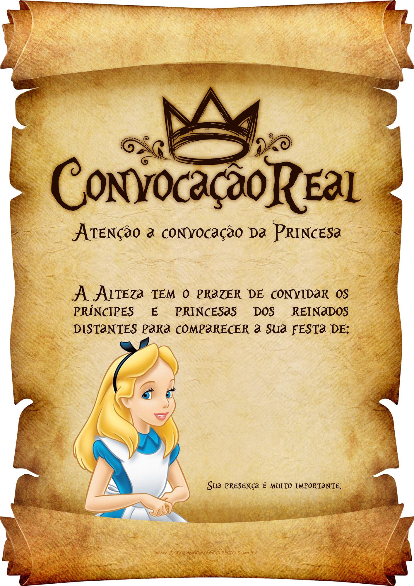 Convite Pergaminho Alice no País das Maravilha