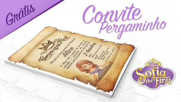 Convite Pergaminho Princesa Sofia da Disney
