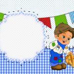 Convite ou Cartão Kit Festa Junina Azul