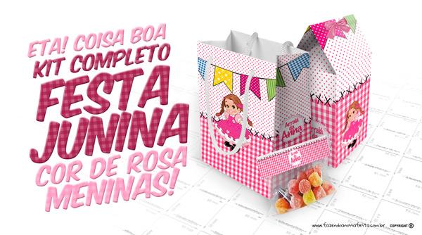 Festa Junina Rosa para Meninas