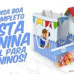 Kit Festa Junina Azul Moldes Grátis para Imprimir