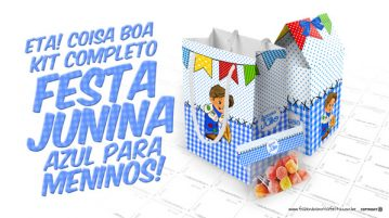 Kit Festa Junina Azul para Meninos