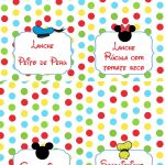 Plaquinha Alimentos Personalizados Mickey e sua Turma